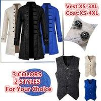 xxxxl xxxl Men's Windbreakers Retro Trench Evening Party Costumes Man Long Jacket Coat Gothic Medieval Coat/Vest Opera Costumes