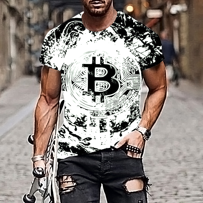 2021 Harajuku Men T-shirt Bitcoin Pattern Style 3D Printing Hip-hop Cool Handsome Plus Size Adult Clothes 3
