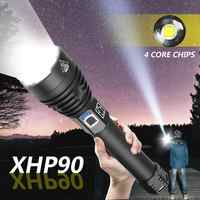 Super Bright XHP90 LED Flashlight XLamp Zoom Torch Powerful XHP70 USB Rechargeable Waterproof Lamp use 18650 26650 for Camping