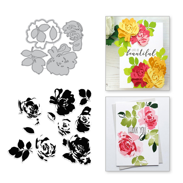Naifumodo Flower Clear Stamps and Metal Cutting Dies Floral Scrapbooking New 2019 Making Card Craft Dies Set Embossing Stencils in Cutting Dies from Home Garden