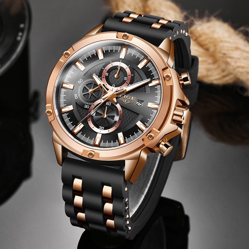 2020 LIGE New Military Silicone Sport Men Watches Fashion Luxury Watch Business Dress Quartz Watch Man Waterproof Luminous Clock