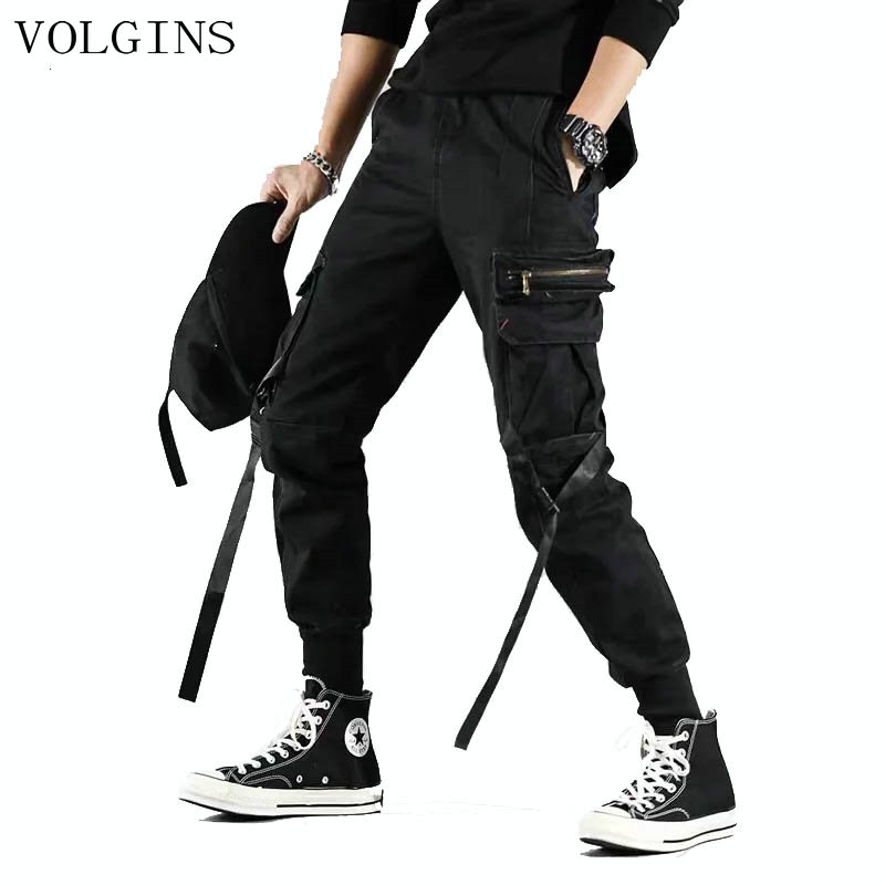 Multi-pocket Hip Hop Streetwear Men's Joggers Pants 2020 Men Cotton Ribbon Black Cargo Pant Trousers Elastic Waist