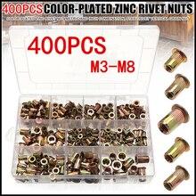 400Pcs Mixed Carbon Steel Rivet Nut M3 M4 M5 M6 M8 Nut Zinc Plated Flat Head Threaded Insert Nut Kit