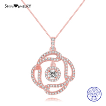 Shipei 100% 925 Sterling Silver Fine Jewelry Sapphire Emerald Ruby Four Leaf Clover Pendant Necklace for Women Birthday Gift tbj natural zambia emerald gemstone pendant in 925 sterling silver tree leaf pendant for women girl as anniversary birthday gift