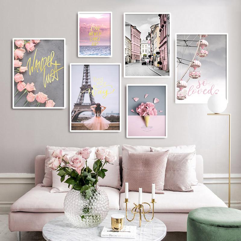 Paris Tower Wall Picture Pink Flower Posters Nordic Scandinavian Landscape Print Canvas Paintings for Living Room Fashion Decor(China)