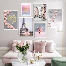 Imagen de la pared de la torre de París carteles de la flor Rosa paisaje nórdico escandinavo impresión lienzo pinturas para la decoración de la manera de la sala de estar
