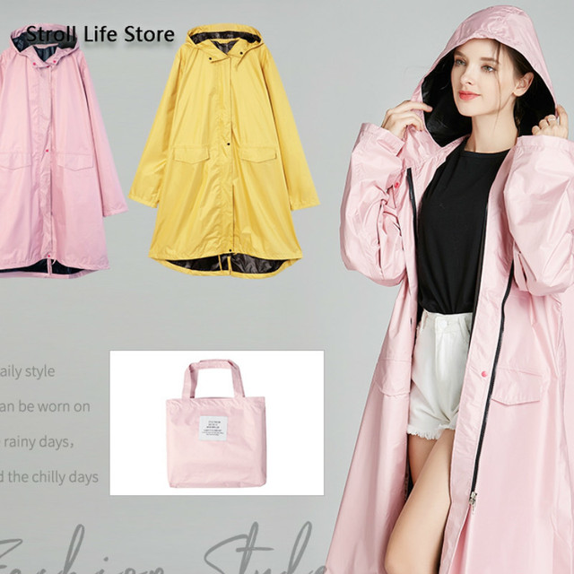 Pink Long Raincoat Women Jacket Hiking Travel Yellow Blocking Sunscreen Rain Coat Waterproof Rain Poncho Windbreaker Impermeable