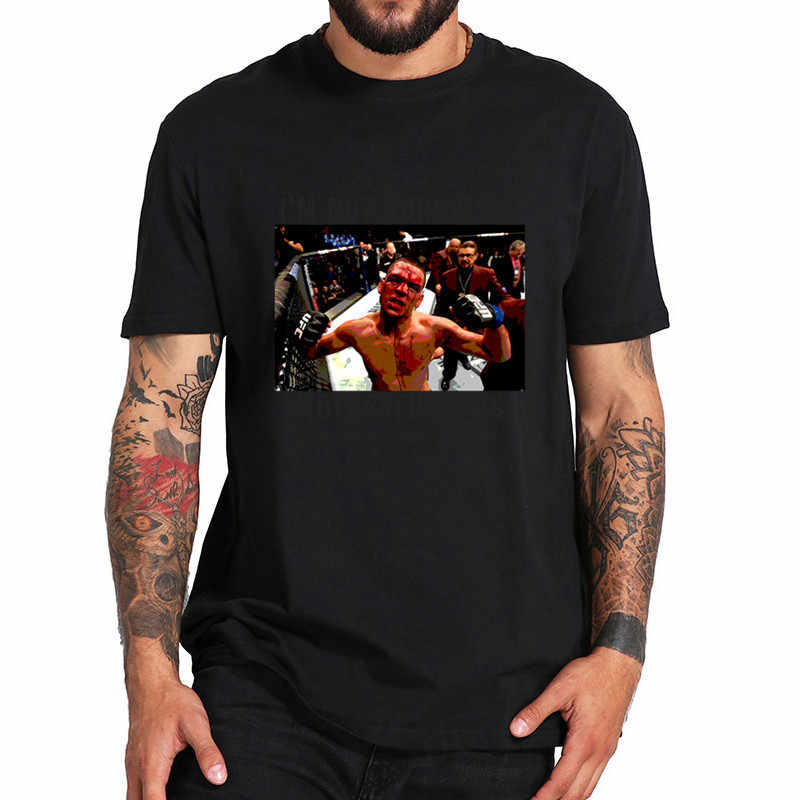 Para los hombres Nate Diaz no está sorprendido de hijos de puta T Camiseta UFC MMA campeón Camiseta 100% de algodón de gran tamaño Camiseta