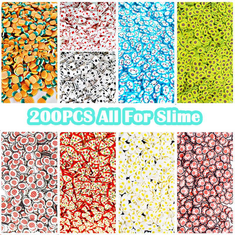 200 PCS ผลไม้ Slime สารเติมแต่ง Soft Fimo ชิ้นสำหรับเล็บความงาม Decor Slime FILLER Supplies Charms อุปกรณ์เสริมของเล่น