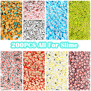 200Pcs Fruit Slices Slime Additives Soft Slices for Nail Art Beauty Decor Slime Filler Supplies Charms Accessories Toys(China)
