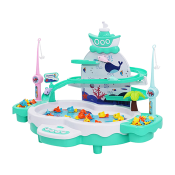 Infant Shining Kids Electric Fishing Toy Pool Baby 2-3 Years Old Boys and Girls Magnetism Fishing Suit Fishing Game for Children