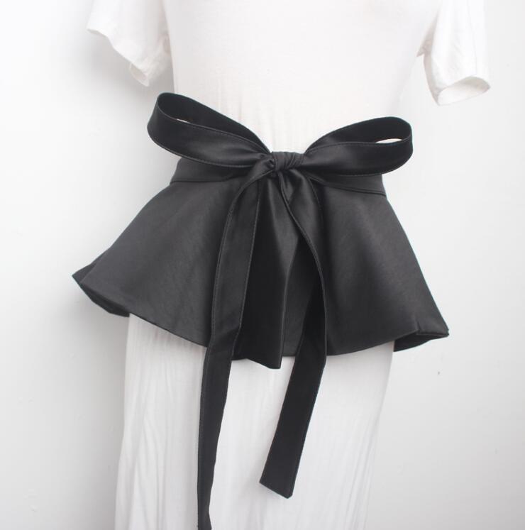 Women's Runway Fashion Black Satin Cummerbunds Female Dress Coat Corsets Waistband Belts Decoration Wide Belt 2196