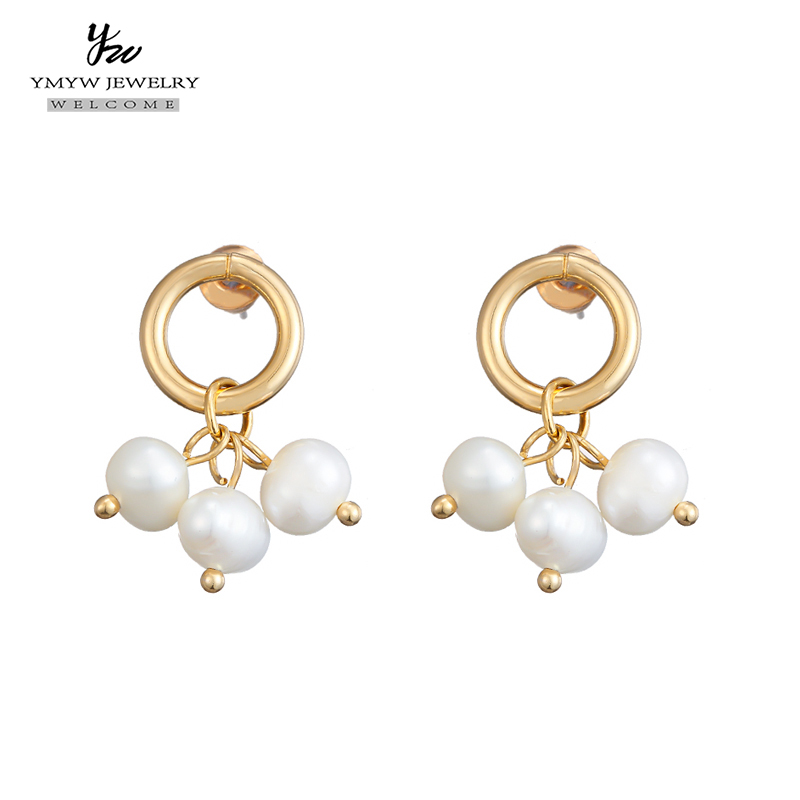 YMYW Fashion Copper Natural Pearls Drop Dangle Earrings 2019 Elegant Round Geometric Chic Small Earrings for Women Party Jewelry