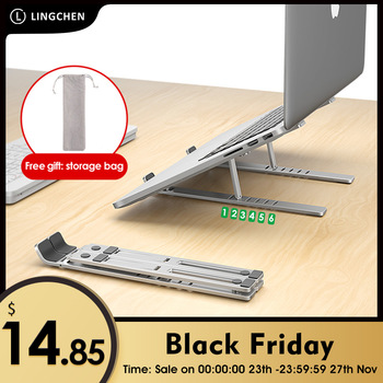 LINGCHEN Laptop Holder for MacBook Air Pro Notebook Laptop Stand Bracket Foldable Aluminium Alloy Laptop Holder for PC Notebook