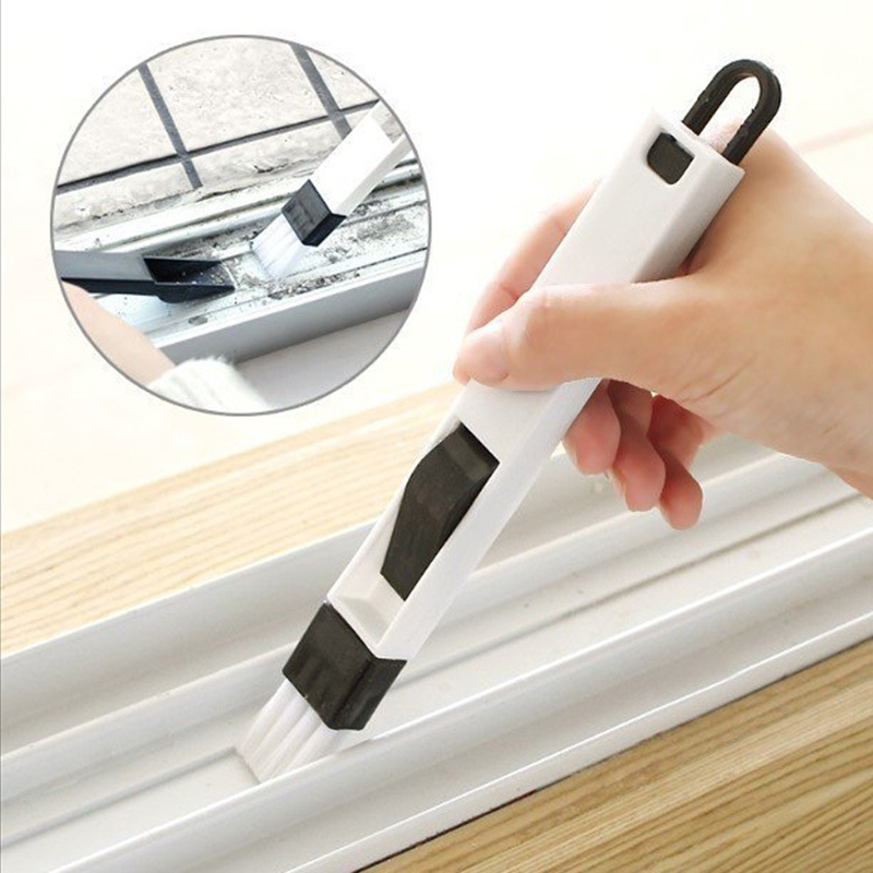 2 in 1 Multifunctional Computer Window Crevice Cleaning Brush Window Groove Keyboard Nook Dust Shovel Window Track Cleaning Tool(China)