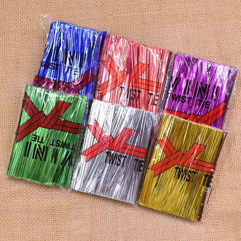 800pcs Multicolor Wire Metallic Twist Ties For Candy Bag Baking Packaging Cello Bags Ligation Lollipop Dessert Sealing Twist Tie