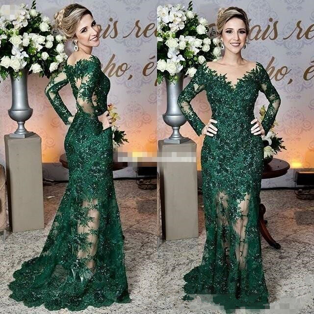 2020 Newest Dark Green Mother of The Bride Dresses Sheer Jewel Neck Lace Appliques Long Sleeve Mermaid Formal Evening Prom Dress
