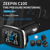C100 Car Tire Pressure Monitoring System Cigarette Lighter Plug TPMS LCD Display Waterproof 4 External Sensors USB Charging
