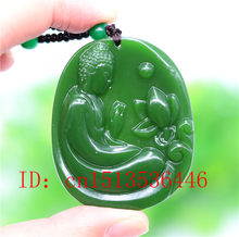 Chinese Green Jade Lotus flower Buddha Pendant Necklace Fashion Accessories Jewelry Carved Amulet Luck Gifts Women Sweater Chain(China)