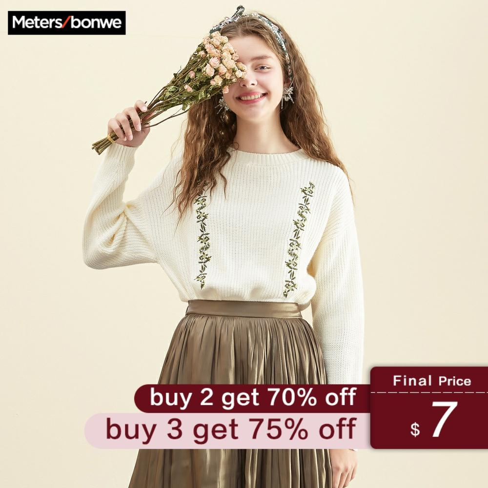 Metersbonwe 2019 Cotton Knitted Sweater Women Pullovers Floral Sweater Autumn Winter Basic Women Sweaters Korean Style Slim Fit