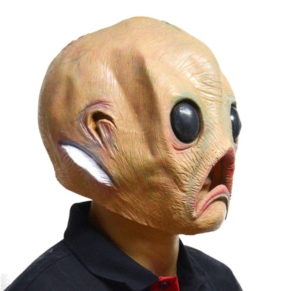 Alien Full Head Adult Latex Mask Cosplay Halloween Fancy Dress Costume Prop Grey