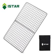 ISTAR Titanium BBQ Cooking Grid With Hanging Hooks, Ultralight Portable Charcoal Grill for Outdoor Camping Hiking and Backpack