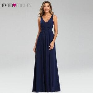Image 1 - 우아한 해군 블루 이브닝 드레스 EP07599NB 더블 v 넥 민소매 Draped 레이스 공식 파티 가운 Abendkleider
