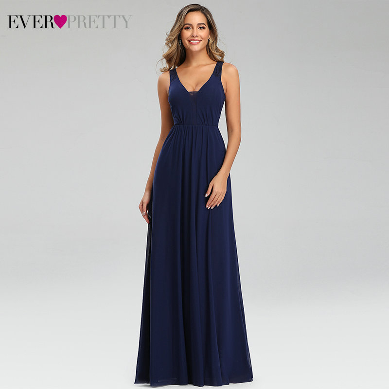 Elegant Navy Blue Evening Dresses Ever Pretty EP07599NB Double V-Neck Sleeveless Draped Lace Formal Party Gowns Abendkleider