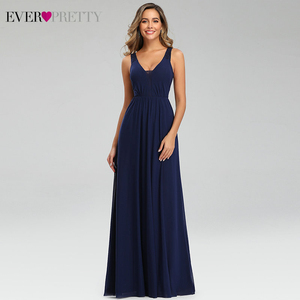 Image 1 - Elegant Navy Blue Evening Dresses Ever Pretty EP07599NB Double V Neck Sleeveless Draped Lace Formal Party Gowns Abendkleider