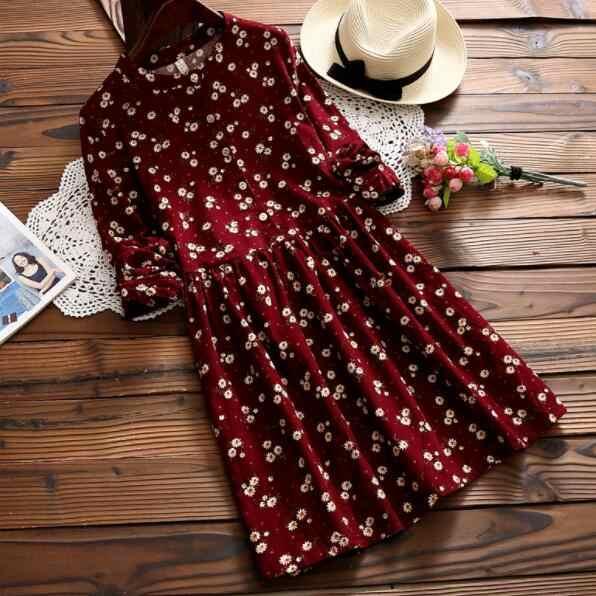 Mori fille printemps Kawaii femmes robe courte Vintage imprimé Floral doux femme tunique bleu marine rouge Mini dame robe en velours côtelé DV540