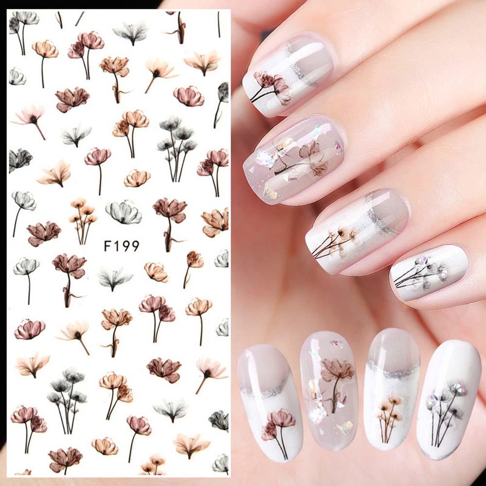 Переводные наклейки для ногтей с цветами и листьями животных