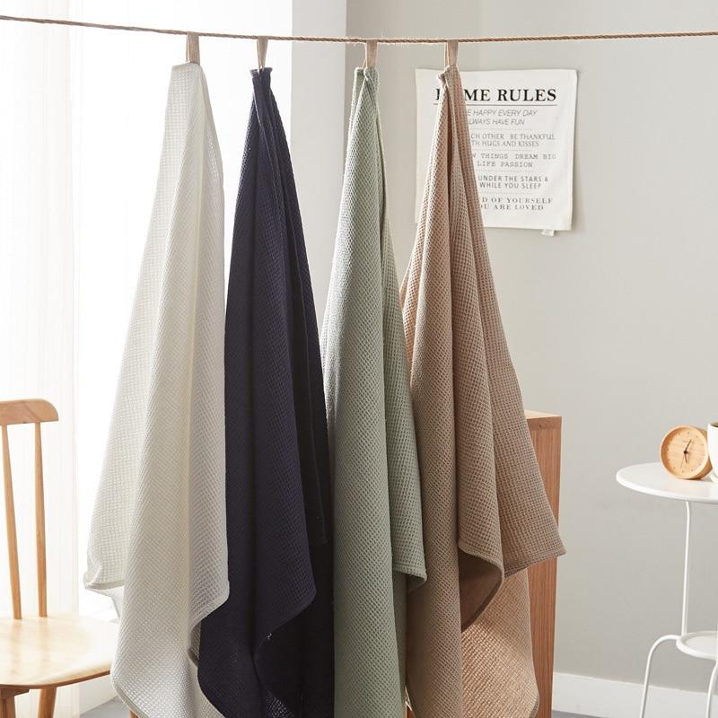 Baby Blanket 100% Organic Cotton Linen Baby Bath Towel Bathroom Multi-use Blanket Infant Swaddle Wrap Bedding 70*140cm White