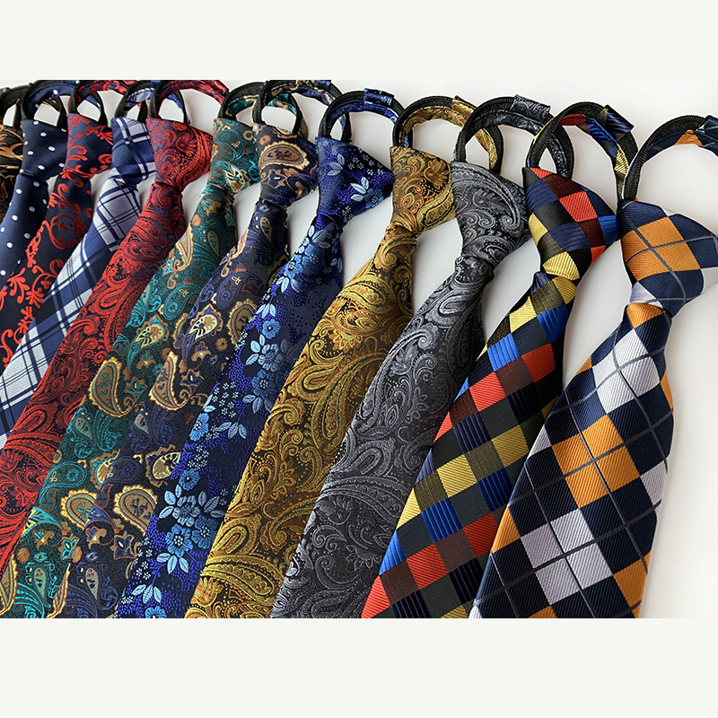 8CM Pre-tied Neck Ties For Men Adjustable Zipper Ties Striped Dots Paisley Men's Ties Bridegroom Party Dress Wedding Necktie