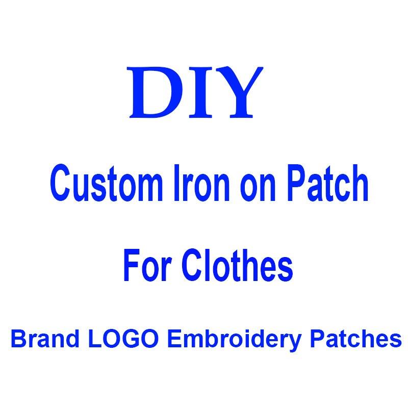 DIY marka giyim için LOGO yamaları demir on İşlemeli yamalar için şapka kot etiket Sew-on Patch aplike rozeti dekor yıkanabilir