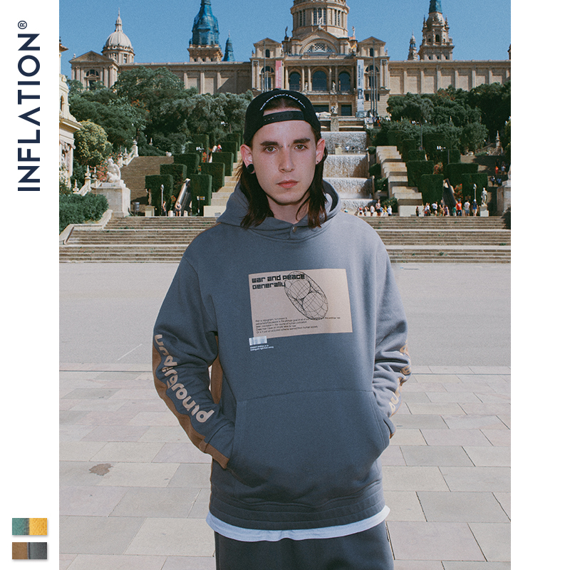 Image 2 - INFLATION 2019 Men Hoodies Dropped Shoulders Hoodie With Printed 