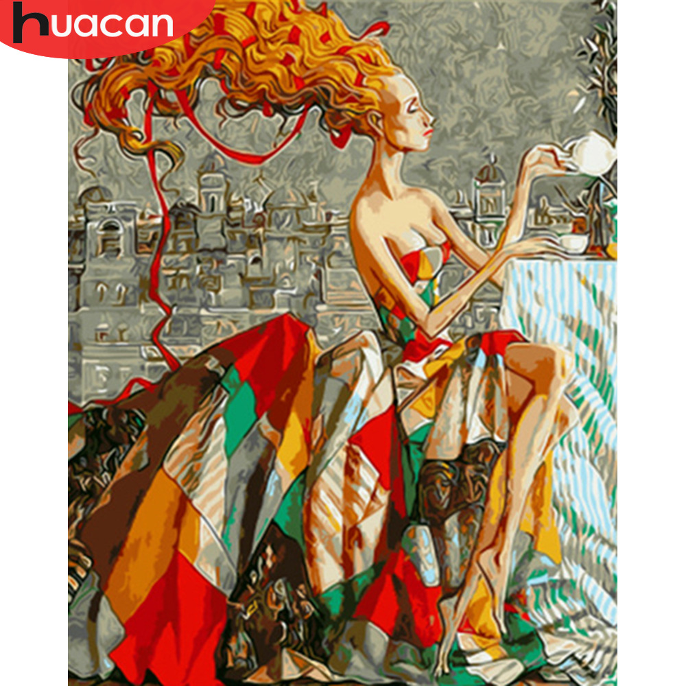 HUACAN Painting By Numbers Woman HandPainted Kits Drawing Canvas DIY Oil Pictures By Numbers Girl Portrait Home Decor Gift