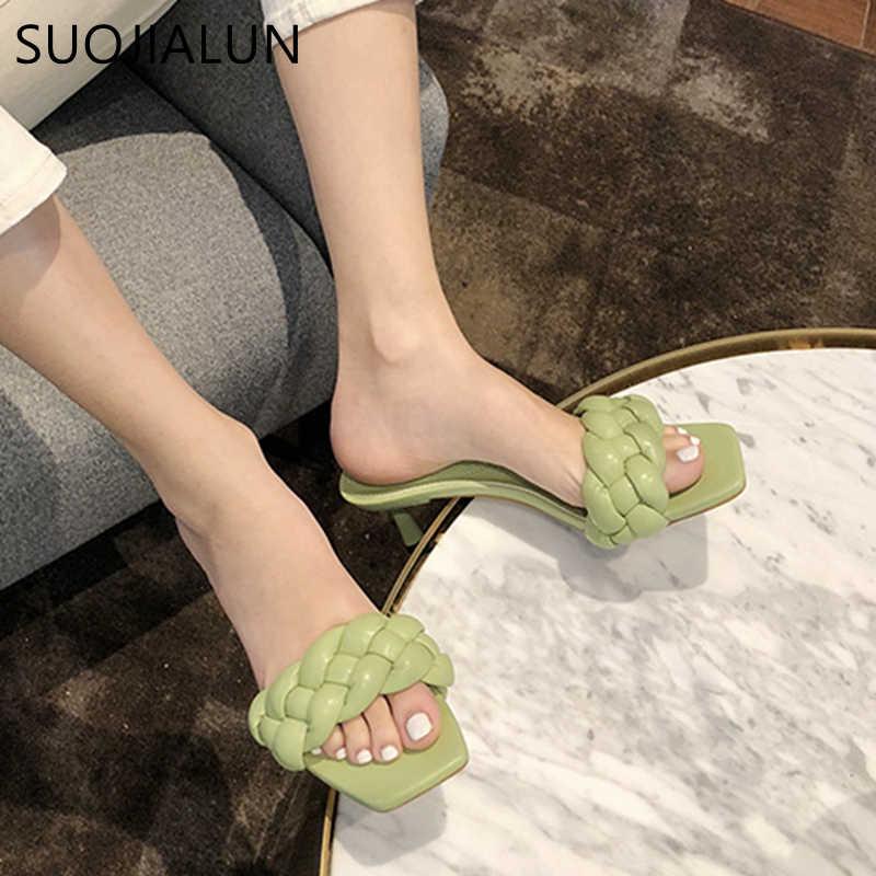 SUOJIALUN 2020 חדש עיצוב Weave נשים נעל עקב גבוהה נשות סנדל פתוח הבוהן להחליק על קיץ חיצוני שקופיות Flip flop