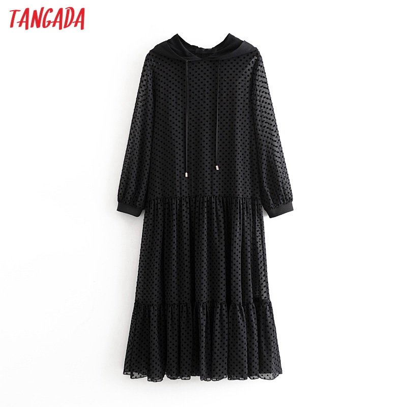 Tangada Women Elegant Black Dot Hooded Mesh Dress Long Sleeve 2020 New Arrival Lady Casual Midi Dress Vestidos 3h375