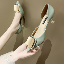 2020 young women Korean version of the stiletto heels solid color pointed shallow mouth PU single shoes one-word buckle Rubber