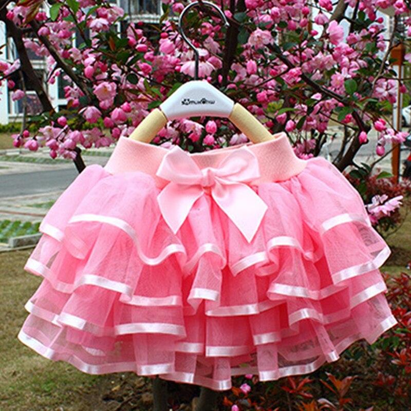 Tutu Skirt Girls Cake Tutu Pettiskirt Dance Mini Skirt Birthday Princess Ball Gown Children Kids Clothes 4 Layers Tulle Skirts