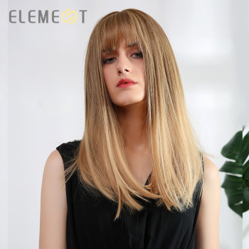 цена на Element Synthetic Long Straight Wig with Bangs Ombre Brown Natural Headline Heat Resistant Hair Party Wigs for Women Cosplay