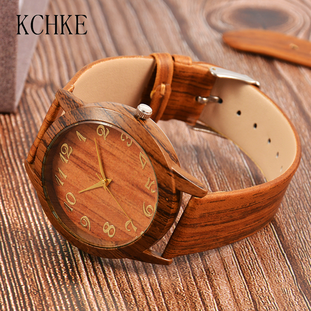 2020 KCHKE Hot Sale Men's Watch Men's Wooden Watch Watch Men Men's Leather Wooden Clock Relogio Masculino