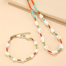 Colorful Handamde Seed Bead Necklace Korean Small Beaded Conch Shell Choker Necklace for Women Fashion Collar Party Gift Jewelry
