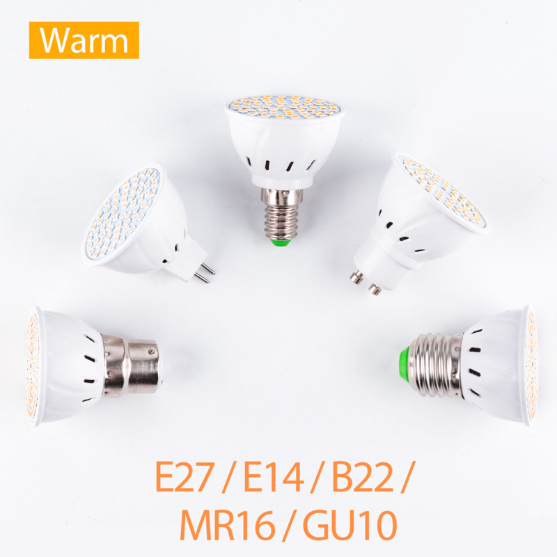 48 60 80 Leds LED Bulb Spotlight MR16 GU10 E27 E14 B22 SMD Lamp AC220-240v Bright HOT