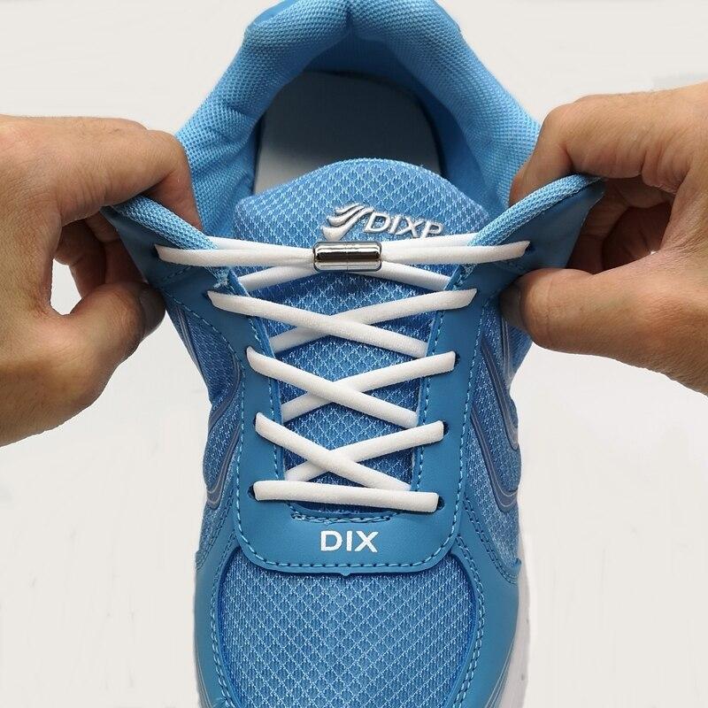 1Pair Elastic No Tie Shoelaces Metal Lock Shoe Laces Kids Adult Women Men Shoes Lace Strings