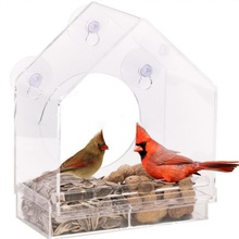 Window Bird Feeders Hot Sale Clear Glass Viewing Feed Hotel Table Seed Peanut Hanging Suction For Pet