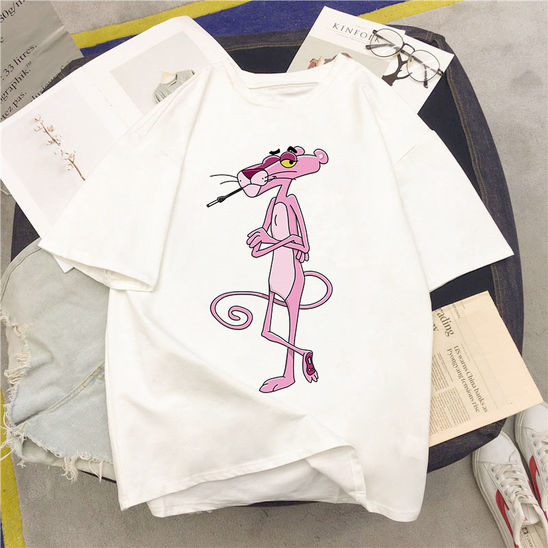 Summer Harajuku Aesthetic Pink Panther Short Sleeve T Shirt Female Casual T-shirt Lovely Cartoon Shirt 2020 New Clothes image