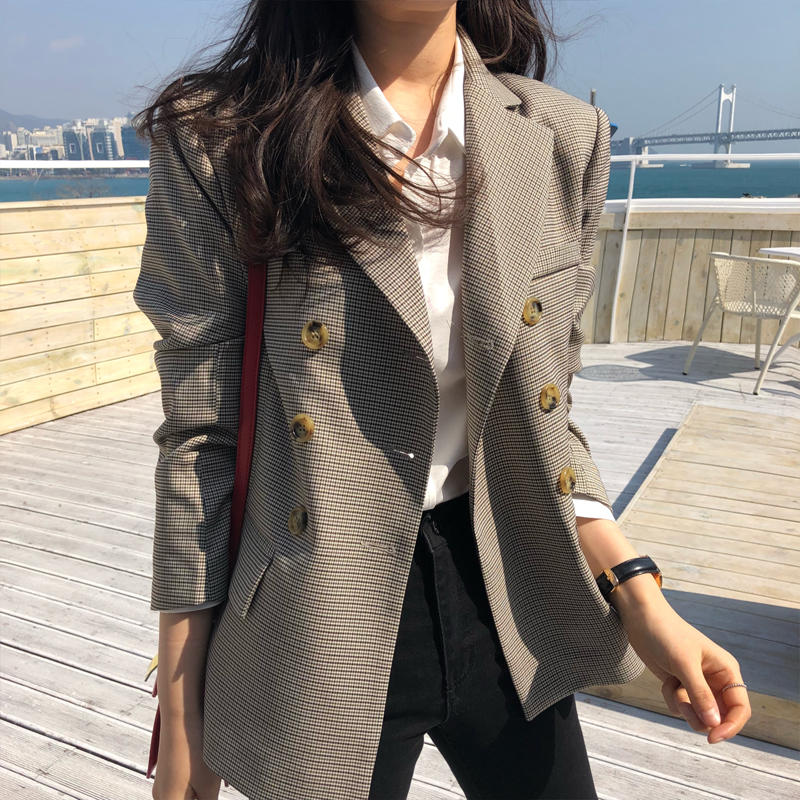 Meihuida Women Classic Plaid Double Breasted Jacket Blazer Notched Collar Female Suits Coat Office Lady Casual Blaers