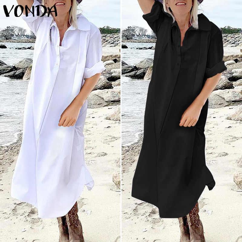 Vestido Sexy manga larga cuello vuelto botones camisa Vestidos VONDA 2019 Primavera Verano Casual Vestidos sueltos Plus tamaño