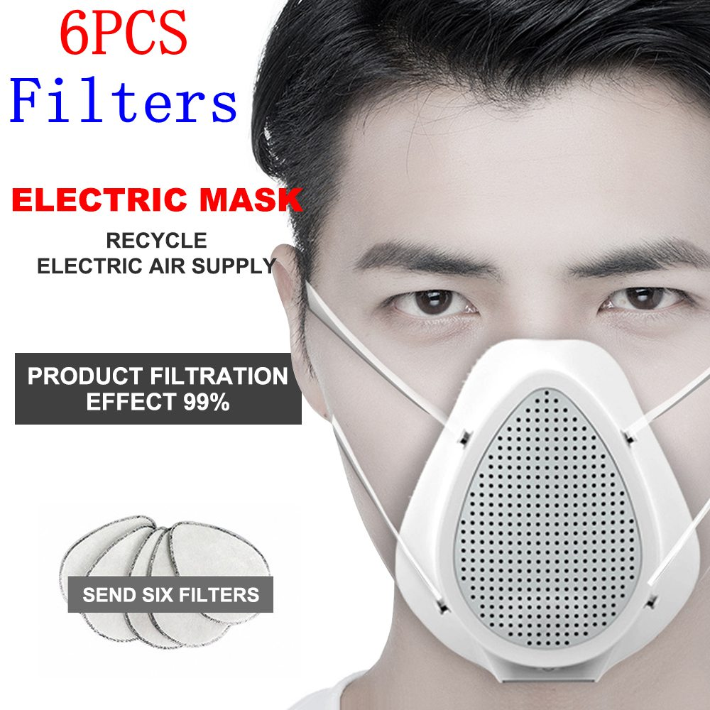 Electric Filter Mask Pm2.5 Anti Coronavirus Protective Mask Dust Mask Anti Pollution Air Purification Mask With 6pcs Filters